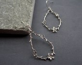 Sterling Silver Flower Earrings - Sterling Silver Twig Earrings - Sterling Silver Flower Hoop Earrings - Sterling Silver Artisan Earrings