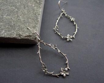 Sterling Silver Flower Earrings - Sterling Silver Twig Earrings - Sterling Silver Flower Hoop Earrings - Sterling Silver Artisan Earrings