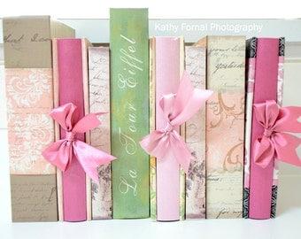 Books Photography Print, Shabby Chic Books, Paris Books Print Decor, Baby Girl Nursery Decor, Paris Pink Books Photography Wall Art Print