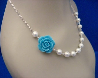 Bridal Jewelry Ocean Blue Rose and Pearl Bridesmaid Necklace