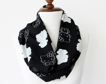 Hello Kity Print Infinity Scarf - Loop Scarf - Circle Scarf - Cowl Scarf - Soft and Lightweight