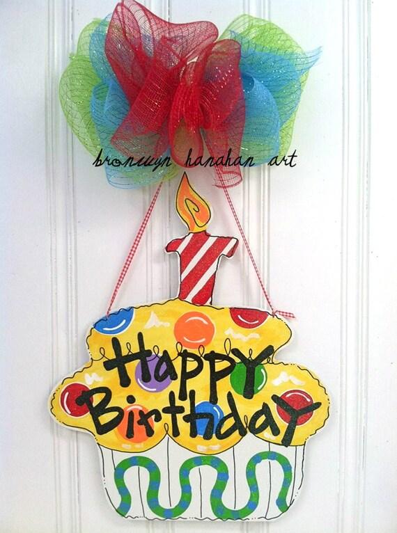 Birthday Cupcake Door Hanger - Bronwyn Hanahan Art