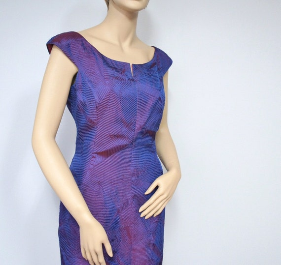 1980's Dress Vintage Party Dress Wiggle Purple Party Dress Fitted Cocktail Dress Sweetheart Neckline Size 8  Slinky