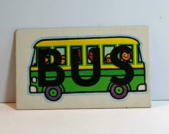 Vintage Flash Card BUS Picture Card Nursery Decor Ephemera Blue Save