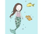 Mermaid Art -- Hello Little Fishies -- Mermaid Nursery Art -- Mermaid and Fish -- Under the Sea Nursery -- Children's Art, Kids Wall Art