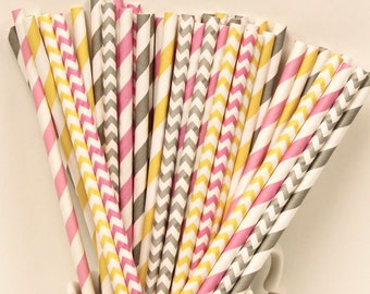 Paper Straws, 25 Gotta Have Pink Party Paper Straws, Pink Paper Straws, Grey paper straws, yellow paper straws, Party Drink Paper straws