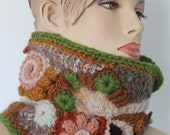 Crochet Scarf, Chunky Knit , Freeform Crochet Cowl Scarf  , Neck Warmer , one of a kind, Winter Scarf, Knit Scarf, Gypsy , Hippie Scarf