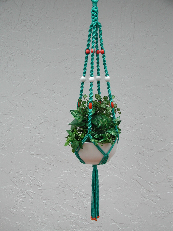 hanging macrame plant pot holder by rrdesigns561 on etsy