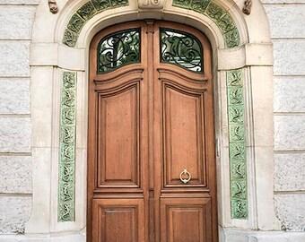 Paris Door Print, Beige, Brown, Mint Green, Art Nouveau Door, Dog, Cat, Architecture, Paris Photography