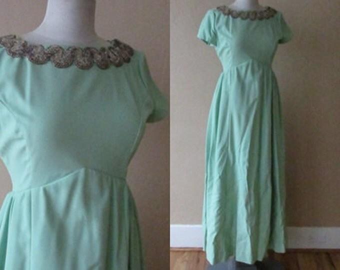 mint green silver sequin scallop peter pan collar detail seafoam vintage 60s 70s maxi formal dress - medium M