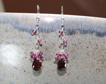 Garnet Earrings, Rhodolite Garnet, Sterling Silver Chain, Garnet Jewelry, January Birthstone, Red Pink Cluster Gemstone Jewelry