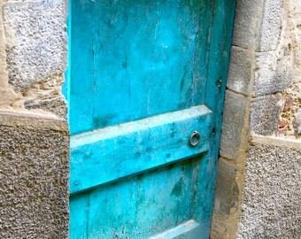 Turquoise Door Photo - Tuscany Print -  Italy Photography - Blue Door Photograph - Rustic Wood Stone Home Decor Italian Art