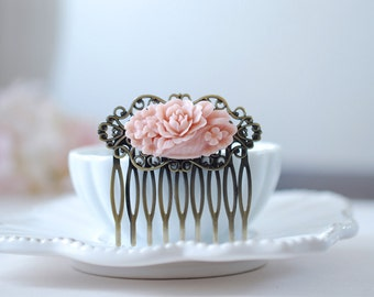 Dusty Pink Flower Bouquet Antiqued Brass Filigree Hair Comb. Vintage Inspired Pink Floral Hair Comb