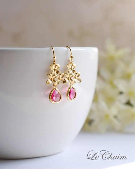 Ruby Pink Gold Flower Cherry Blossoms Dangle Earrings Fuchsia Glass Drop Earrings Bridesmaid Earrings Pink Wedding Earrings Anniversary Gift
