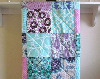 Modern Baby Girl Quilt, Baby Quilt Handmade, Girl Crib Bedding, Purple, Orchid, Turquoise, Nursery Bedding, Navy Quilt, Lavender and Aqua