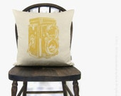 Antique Camera Photo Print Personalized Pillow Case | 12x18 / 16x16 Cushion Cover | Color & Fabric Custom Option | Industrial Home Decor
