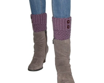 Crocheted Purple Boot Cuffs With Dark Amethyst Buttons, Plum Leg Warmers, Soft Acrylic Yarn, Handmade Crochet, Trendy Winter Gifts For Teens
