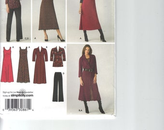 TWO 2 Misses Women Plus Size Patterns, Simplicity 3700 AND 3568 Shirt Dress Jumper Pants Jacket Size AA 10, 12, 14, 16, 18 Easy to Sew