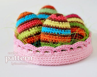 Crochet Pattern - Crochet Striped Easter Eggs In A Bowl (Pattern No. 054) - INSTANT DIGITAL DOWNLOAD