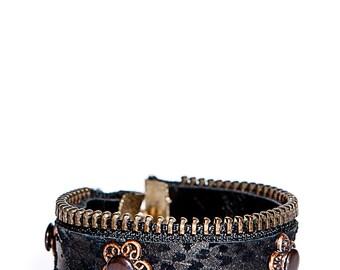 Beautiful black print leather bracelet