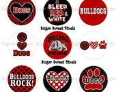 INSTANT DOWNLOAD Red Black Bulldogs School Mascot 1 inch circle Bottlecap Images