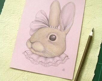 ON SALE 50% Discount, Original Drawing, Whimsical Animal Illustration, Animal Portrait, Gift Idea for Girls, Girls Room Decor