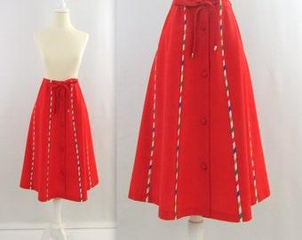 Vintage 1970s Red Rainbow A Line Skirt - Small Medium by Designer Peter Popovitch