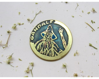 The Hobbit brass pendant/pin/coin. Gandalf. Etched brass. Handmade. perfect gift for a Tolkien fan