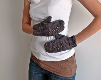 gray gloves grey gloves studs gloves mittens winter fashion christmas gift studded gloves