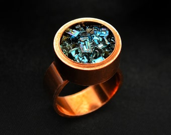 Bismuth Crystal Ring - Boho Jewelry - Copper Ring - Crystal Jewelry - Iridescent Ring - Design Your Own Jewelry - Unique Gift for Scientist
