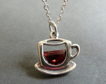 Coffee Cup Necklace. Cup of Coffee or Tea Pendant. Sterling Silver Tea Cup Pendant Necklace.
