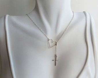 SALE:  Sterling Silver Cross and Open Heart Lariat Necklace.  .925 Sterling Silver Cross and  Heart Necklace.