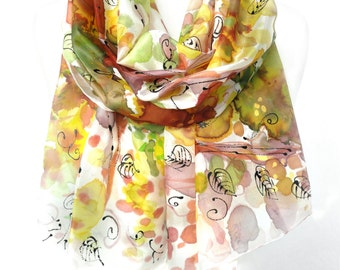 Hand Paint Silk Shawl. Echarpe Foulard Soie Yellow Scarf Floral Gift for Her Silk Art Scarf. Woman Scarf. 18x71 in. (45x180 cm). Ready2Ship.