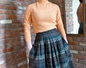Jaeger Plaid Wool Midi Skirt 1950s Full Gray Blue Woven  Pockets - Great Britain Vintage