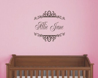 Girl Name Scroll Wall Decal - Personalized Childrens Vinyl Wall Decal - Monogrammed Kids Vinyl Lettering - Girls Room Decor - Baby Nursery