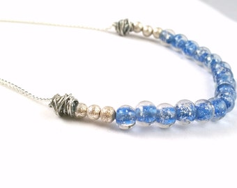 Beautiful Blue Silver Foiled Glass Beads Jewelry Set