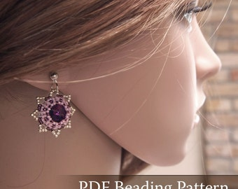 Beading pattern Squill Earrings, Swarovski Rivoli earrings tutorial, vintage style earrings pattern, star earrings, flower earrings, PDF