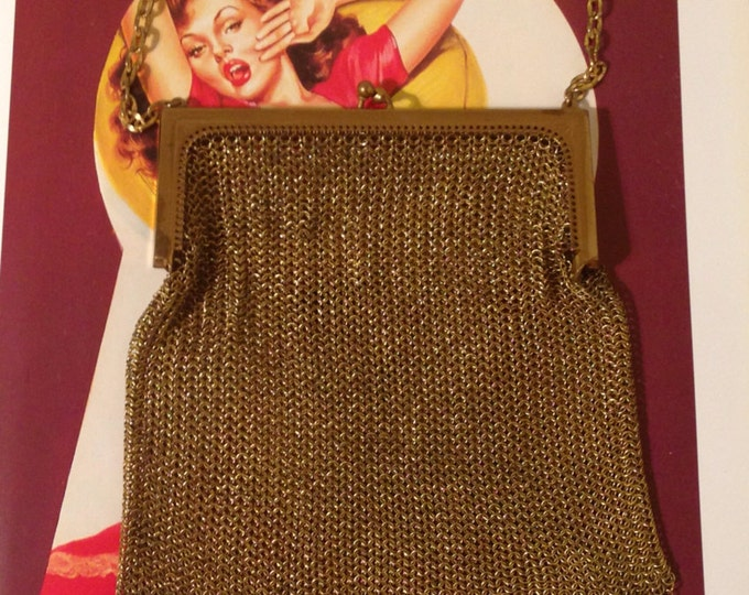 Vintage 50s Whiting & Davis Gold Painted Metal Mesh Elegant Antique Purse 2638