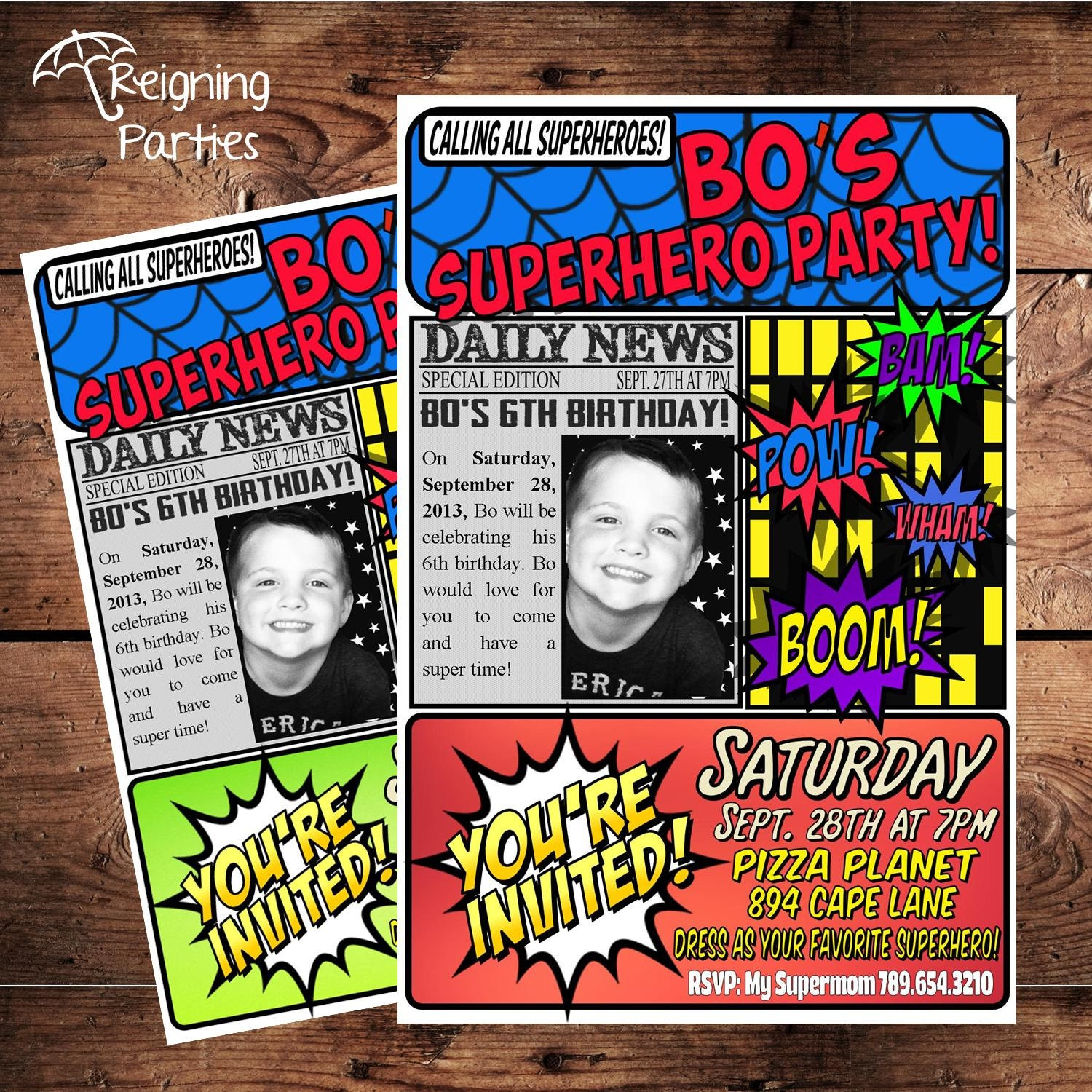 Super Hero Birthday Party Invitation Save the Date Digital