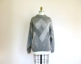 Vintage // Grey Chunky Knit Oversized Intarsia Sweater