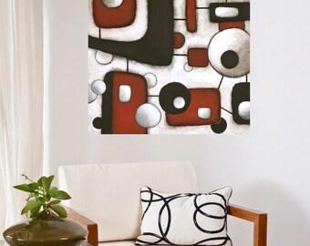 atomic painting original midcentury modern art geometric brown rust beige acrylic art Leah Fitts