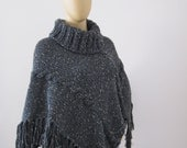Knit Women Ponchos, Cable Knit Poncho, Tweed Look Sweater Poncho with Long Fingerless Gloves, Women Knitted Ponchos with Arm Warmers - KnitBuddy