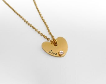 Heart Necklace, Personalized Name Necklace, Gold Birthstone Necklace, Heart name necklace, Custom Mom Necklace, Birthstone Heart necklace.