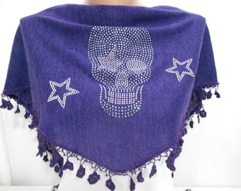 Skull Scarf Shawl Day Of The Dead Scarf Stud Cowl Scarf Steampunk Cross Bones Scarf Purple Scarf Women Fashion Accessories Gifts For Her