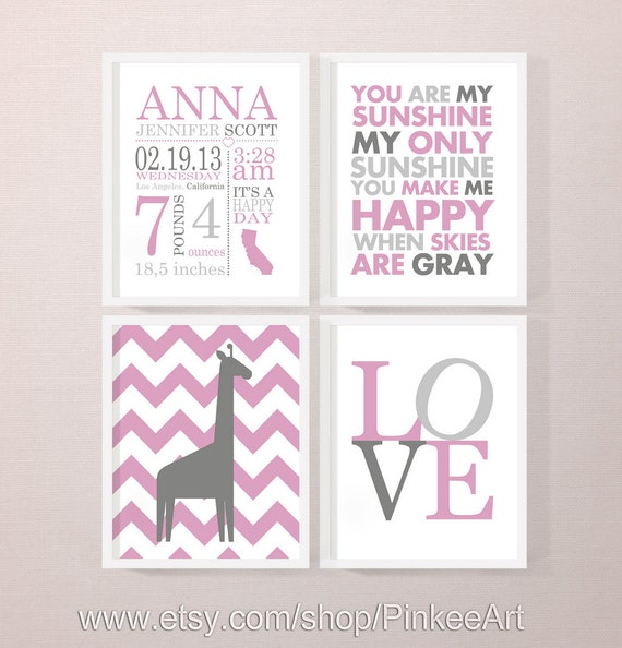 baby girls birth stats baby girl room decor giraffe baby – Baby Birth Announcement Quotes