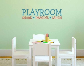 Playroom Decal: Share Imagine Laugh - Playroom Sign