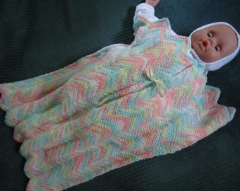Hand crocheted baby sack blanket cocoon, newborn to 8 months, novel blanket alternative.