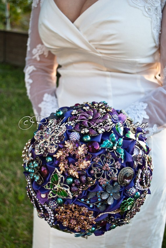 Royal Blue And Gold Wedding Bouquets Purple Broach Bouquet By Rubybloomscom