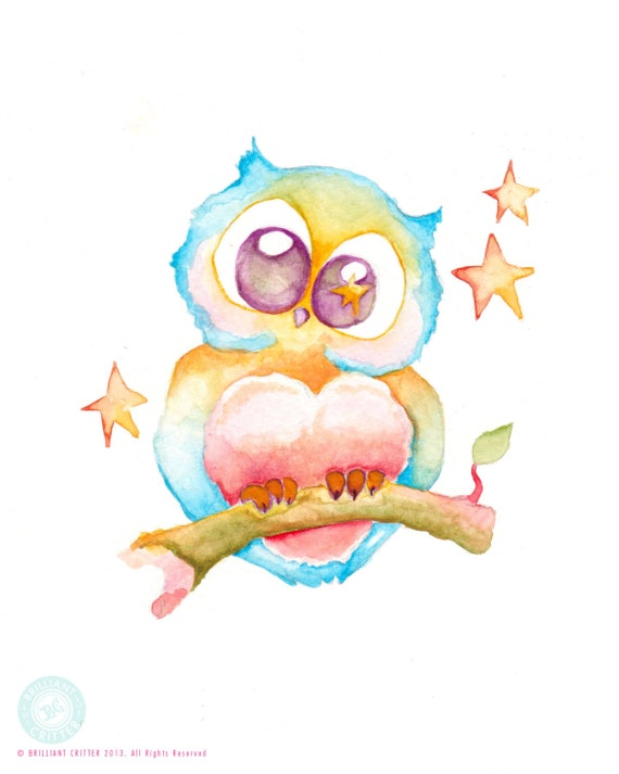 Owl nursery art owl watercolor print owl by brilliantcritter for Cute watercolor paintings