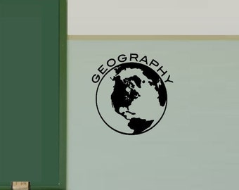 Globe decal- Geography Decal - Geography class Decoration - Social Studies Classroom-Geography-Teacher Decorations  Wall Decal - Globe Decal